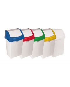 50 Litre Swing Bin White With Colour Lid